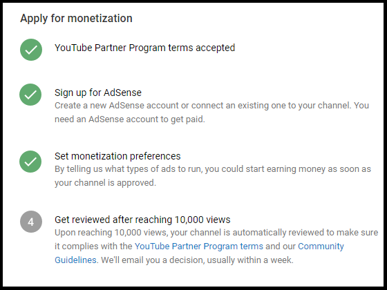 Apply for monetization